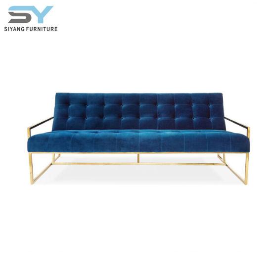 Living Room Furniture Leather Sofa Set Blue Three Seat