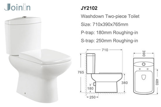 Chaozhou Sanitary Ware Bathroom Ceramic Two Piece Wc Toilet with P-Trap (JY2102) pictures & photos