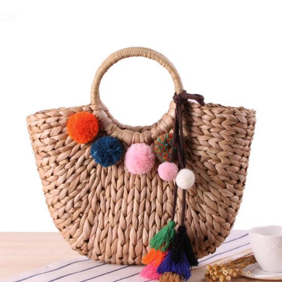 Fashion Vintage Straw Basket Puff Decoration Handbag Women Exquisite Tote Bag