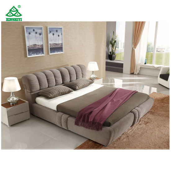 China Plywood Double Bed Designs Soft Fabric With Sponge Headboard