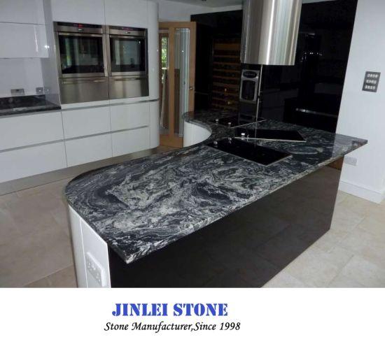 Luxury Natural New Sea Wave Worktop Nero Assoluto Black Granite Stone Nero Fantasy Granite Price For Floor And Kitchen Countertop