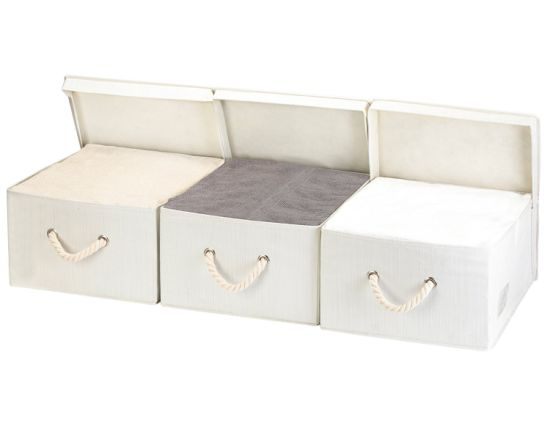 White Fabric Covered Decorative Collapsible Non Woven Cardboard Storage Bo With Lids