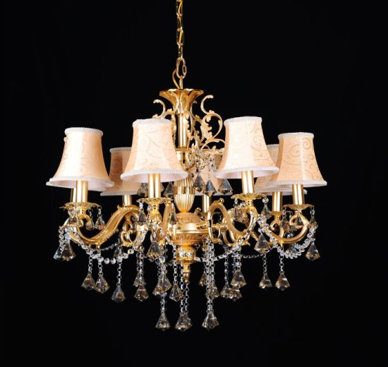 European Style Luxury Crystal Chandelier Candle Lighting with Decoration (88006-6)