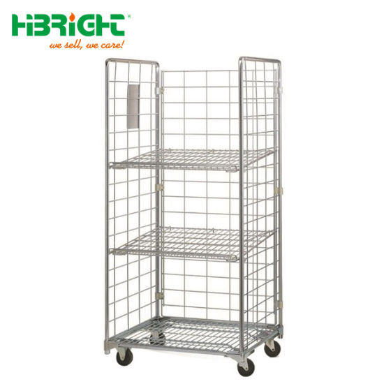 Logistics Wire Mesh Shelves Roll Cage Trolley