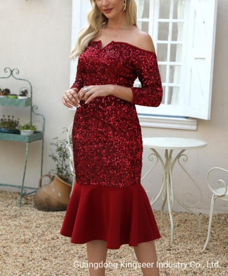 China Amazon Wholesale New Design Beautiful Apparel Lady Fashion Clothes Wedding Gown Elegant Evening Sexy Dress Party Red Color Bright Cocktail Pencil Woman Dresses China Dresses And Beautiful Dresses Price