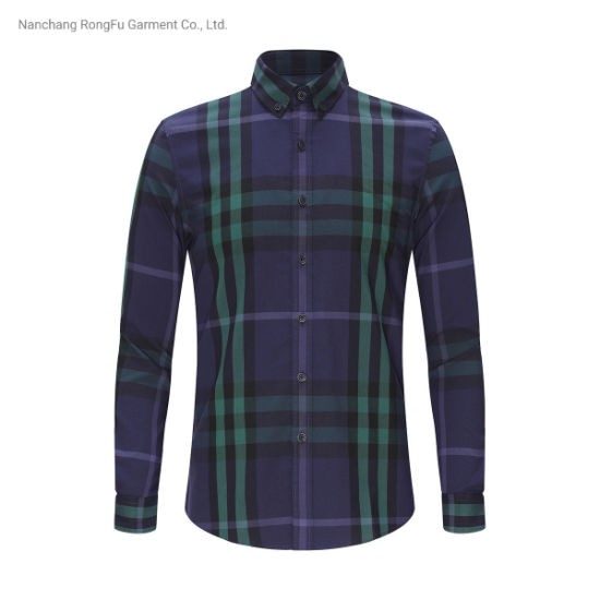 Crisp Fashion Square Pattern Lapel Men's Long Sleeve Shirt