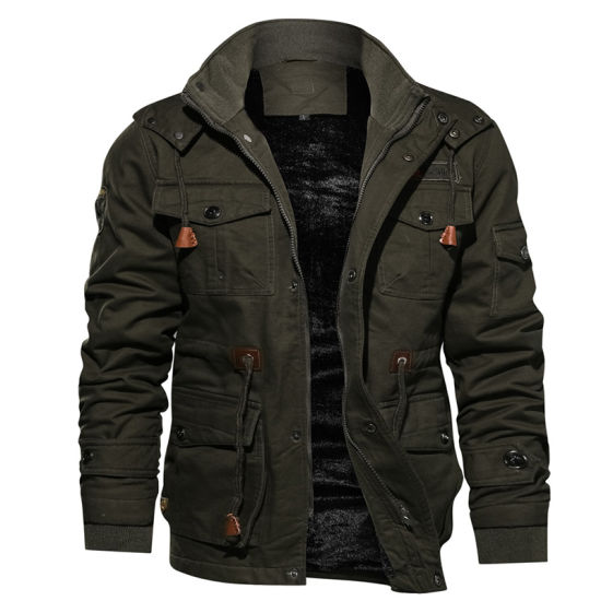 Winter Thickening Fleece Warm Military Style Track Jacket Coat