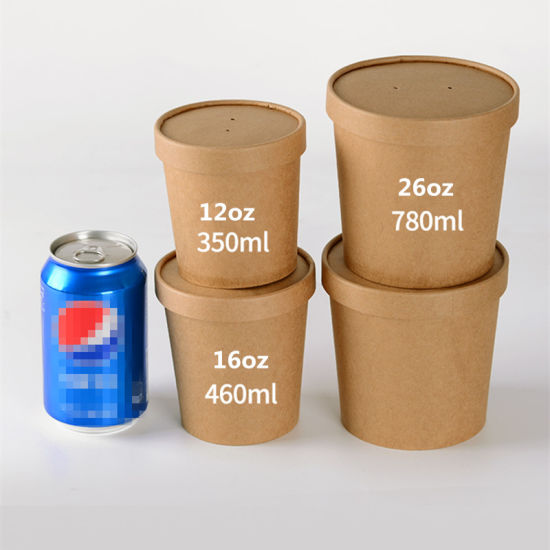 Disposable Lunch Box Round Kraft Paper Soup Bowl Food Dessert Packing Box Takeaway Fruit Salad Box with Lid