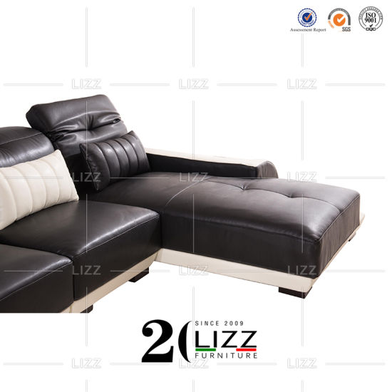 L Shape Black White Sectional Leather
