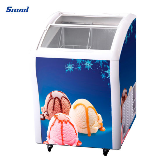 Small Curved Sliding Glass Door Horizontal Ice Cream Showcase Freezer