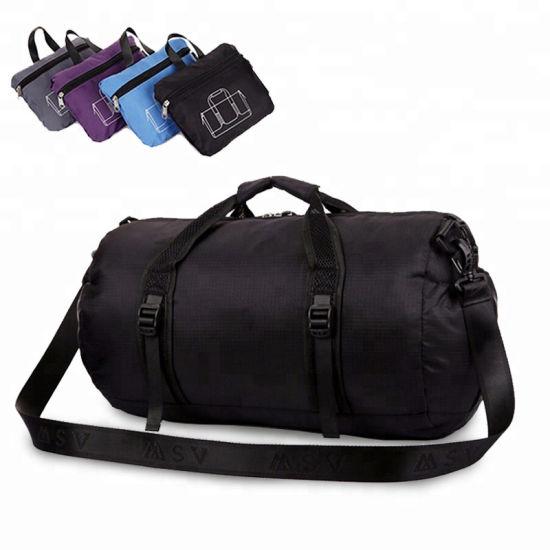 Wholesale Custom Logo Waterproof Nylon Foldable Duffel Bag Folding Sport Travel Bags for Gym with Women and Men