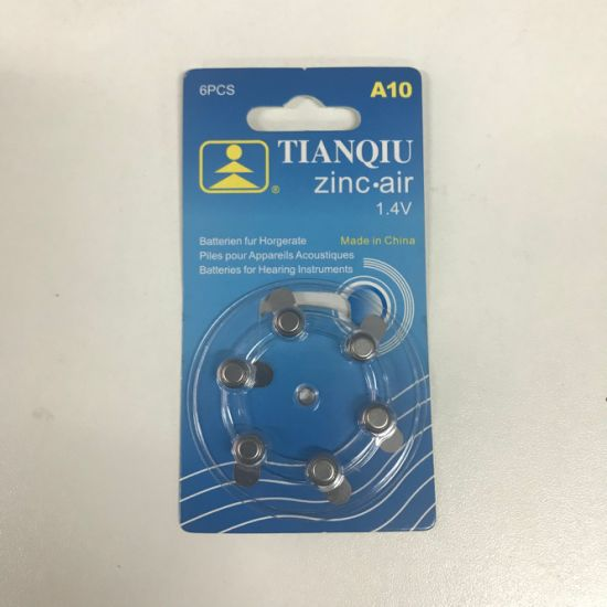 A10 Zinc Air Hearing Aid Dry Battery Factory Price Button Cell