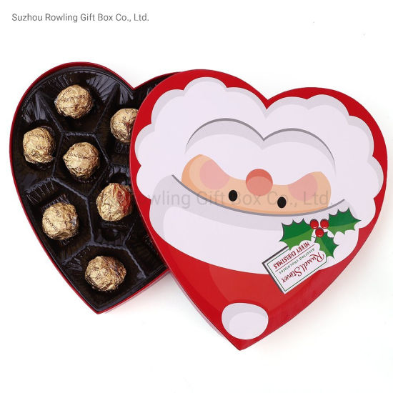 Christmas Santa Face Heart Shape Chocolate Gift Paper Box pictures & photos