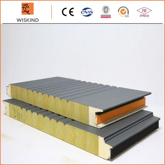 Economic Insulation PU Foam Edge Sealing Rock Wool Sandwich Panel Used on Prefabricated Building