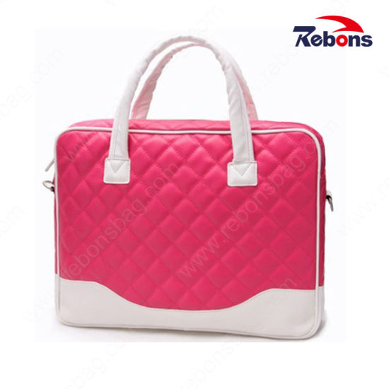 f9a7a21828491 High Quality PU Ladies Stitching Color Embroidery Cute Laptop Bag with Full  Lining and Foam Padded