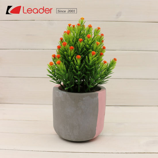 Hot Sale Cement Pot With Artificial Plant For Home And Garden Decoration Make Your Own Designs