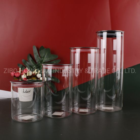 High Borosilicate Heat Resistant Glass Storage Containers Jars with Thin Silver Lids