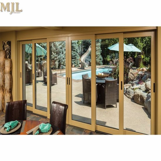 China Modern Wood Glass Design Front Aluminium Sliding Doors