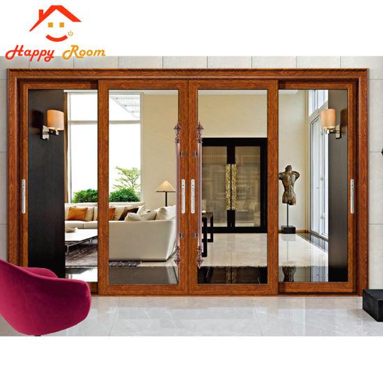 Wood Grain Aluminium Door with Decorative Double Glasses