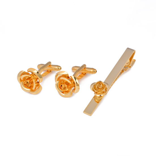 Factory Supply Brass Rose Sign Tie Clip and Cufflink Set