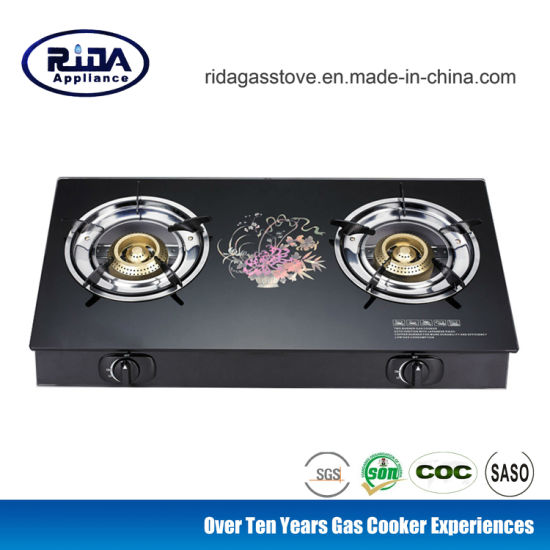 Stainless Iron Two Burner Tempered Glass Table Top Gas Cooker