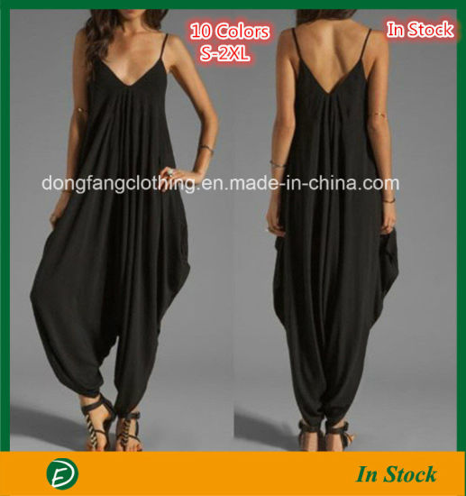 China Fashion Low-Cut V-Neck Sexy Sling Loose Jumpsuit with Cheap ... faaa4e33f
