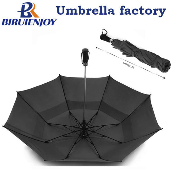 Windproof 58 Inch Auto Open Double Layer 2 Folding Golf Umbrella for Gifts/Advertising/Promotion/Men Women