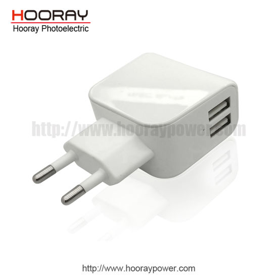 Hooray Smart IC Charger Cell Phone Quick Charger 5V 3.1A 2.4A Dual USB Port Wall Charger Adapter for Apple iPhone, Samsung, Xiaomi, Huawei pictures & photos