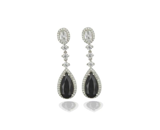 925 Silver Dangling Earring with Black CZ for Women