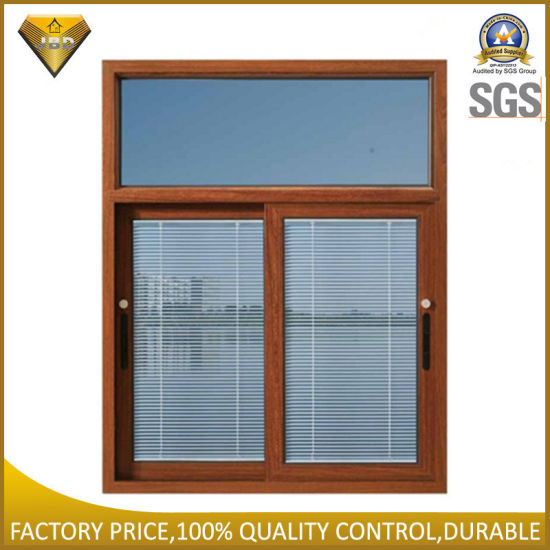 Aluminum Alloy Double Glass Sliding Window with Shutter Inside (JBD-S6) pictures & photos