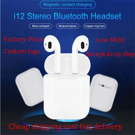 Wireless Bluetooth Headphone Mini Blue Tooth 5.0 True Stereo Wireless Earphone with Touch Control Headset I12