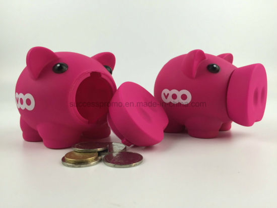 Custom Plastic Coin Money Box, Cartoon Pig PVC Vinyl Money Box