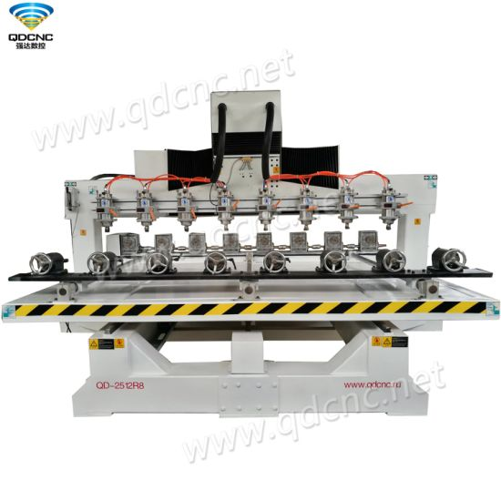 Professional Design Eight Spindles CNC Router Engraving Machine with Powerful Servo Motors Qd-2512r8 pictures & photos