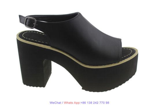 Women's Platform Comfy Leather High Heel Flatform Wedge Sandals Shoes