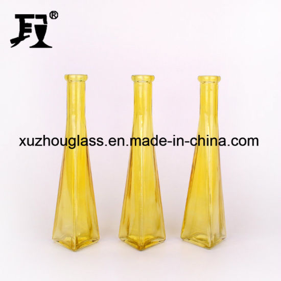 China Colored Glass Vase Triangle Custom Made Glass Vases China