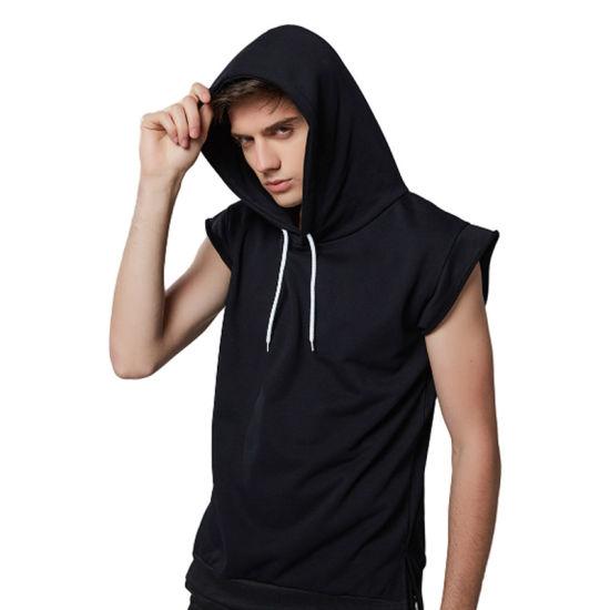 54bd574bbdf54d China OEM Manufacturer Custom Men Gym Black Sleeveless Hoodie ...