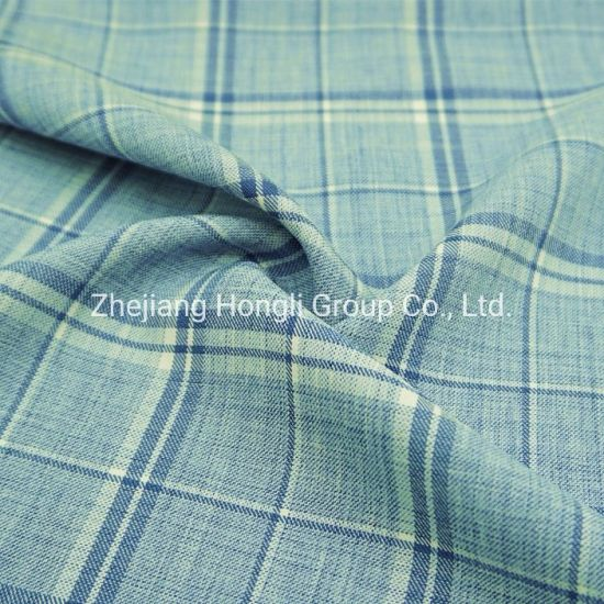 98%Polyester 2%Spandex Cationic Check Plaid Poly Span Fabric #20004