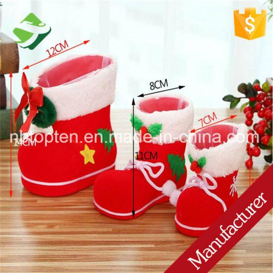 China Christmas Xmas Flocking Red Boots Socks Small Candy Gift Bag ...