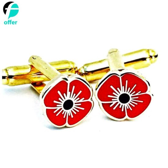 Custom Rememberance Red Poppy Cufflinks pictures & photos