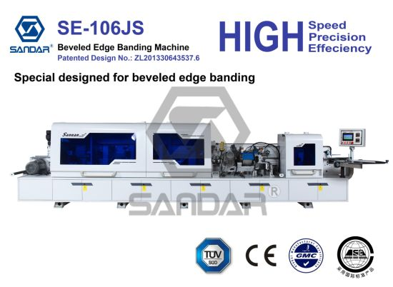 Automatic Woodworking Beveled Edge Banding Machine with Pneumatic Trimming