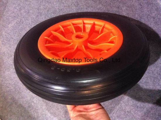 Factory 3.50-8 Flat Free PU Foam Trolley Wheel pictures & photos
