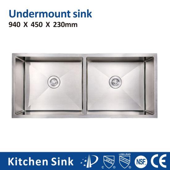 South Africa R10 16gauge 33'' Big Under Counter One Two Wash Bowl SUS304 Ss201 Kitchen Sink for Kitchen Room Handcraft Glitter Glisten Kitchen Sink