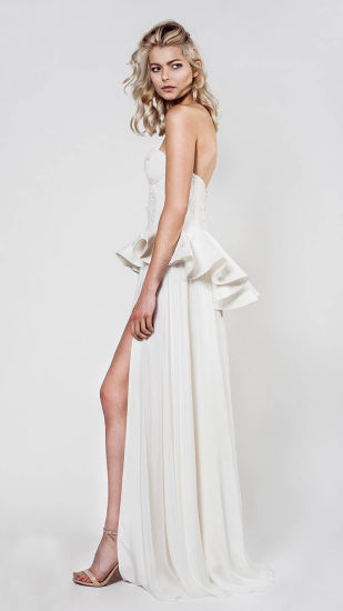 China sexy strapless sweetheart peplum a line wedding dress with sexy strapless sweetheart peplum a line wedding dress with slit skirt junglespirit