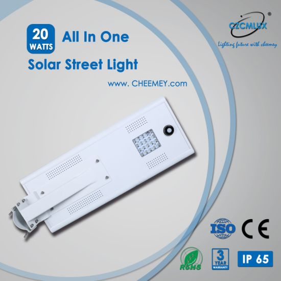 20W Automatic All in One Solar LED Road Street Lighting