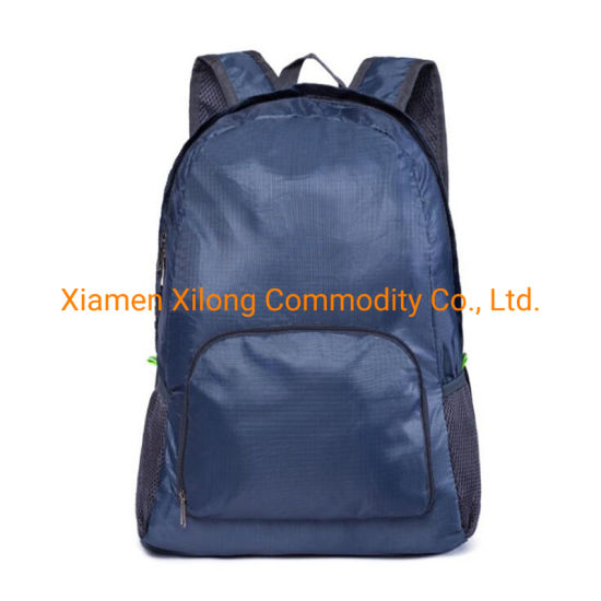 2021 New Customized Logo Printing Ultralight Wholesale Waterproof Outdoor Travel Sport Folding Backpack Bag Navy Blue