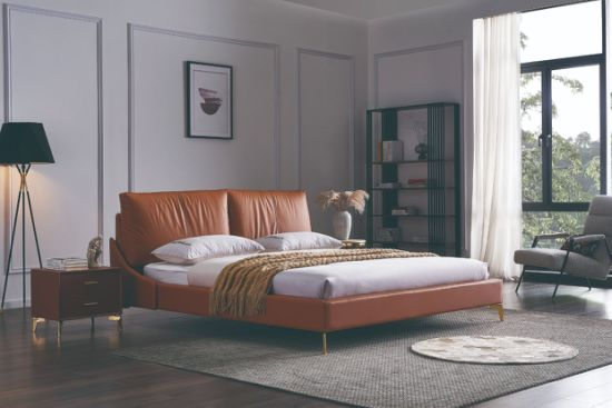 New Model Modern European Bedroom Furniture Luxury Leather Double Bed