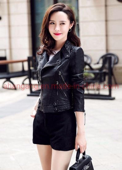 Zipper Long Sleeve Short Leather Jacket for Women pictures & photos