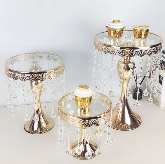 Set Cake Stand Wedding Decoration Gold Silver Glass Dome Metal Cake Stand
