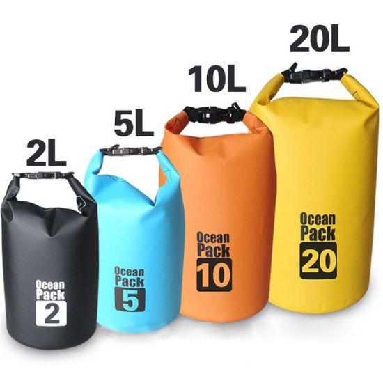 Custom Logo Waterproof Ocean Pack Outdoor PVC Small Swimming Tarpaulin 100L Drybag 20L 30L Dry Bag Waterproof