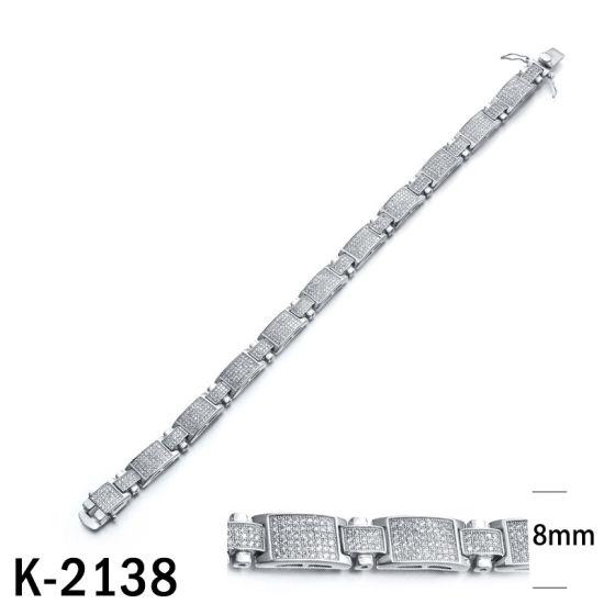China Hip Hop Bracelets 925 Silver Micropave CZ Men′s
